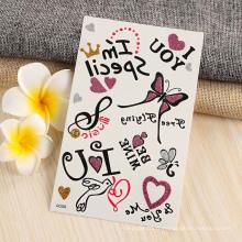 Autocollant temporaire auto-adhésif de tatouage de corps de décoration non-toxique de papier de tatouage d'encre, autocollant floral fait sur commande de tatouage de papillon