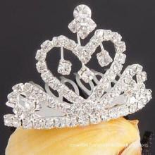 wholesale hair accessories silver plated crystal tiara hair barrette supplies