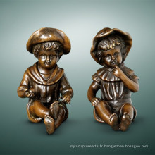 Statue de figure pour enfants Cute Girls Bronze Child Sculpture TPE-983/985