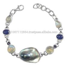 Schöne Tansanit Blister Perle Iolite Labradorit & Regenbogen Moonstone Edelstein mit 925 Sterling Silber Armband