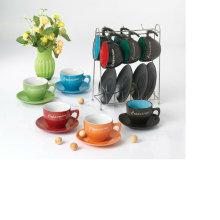 Tasse à café 230cc et soucoupe avec étagère en métal pour BS12012