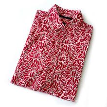 Camisas masculinas florais de manga curta com impressão colorida