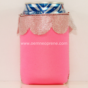 Pink neoprene beer cooler tube for outdoor activities