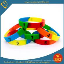 Bracelets en silicone segmentés sur mesure pour les coffrets cadeaux