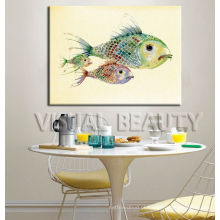 Peixes Pintura animal da aguarela para a sala de jantar