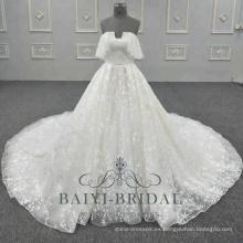 Nuevo vestido de novia con patrón de encaje Falda bajo vestido de novia sin tirantes Bling 2018 Colecciones