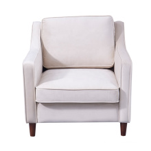 French Modern Furniture One Seater Sofa Fancy Living Room White Fabric Accent Chairs With Arms