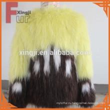 Трикотажные мех енота пальто