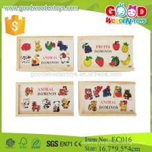 Popuplar fruit& animal Cheap wood domino toys
