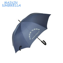Proveedor China Promotional Product Strong Shaft J Handle Navy Blue Straight Golf Umbrella with Logo Printing Chinese Supplier