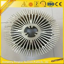 Perfil de extrusão de alumínio com dissipador de calor em alumínio redondo