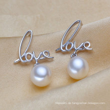 Liebe-Form-Silber-natürliche Perlen-Ohrringe