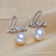 Love Shape Silver Boucles d'oreilles en perles naturelles
