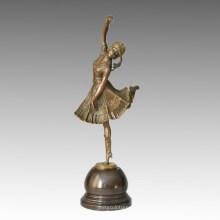 Танцовщица Бронзовая скульптурная лодка Lady Carving Deco Брасс-статуя TPE-313