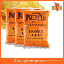 Guangzhou fabricante Venta al por mayor de patatas fritas a la medida bolsa de empaque / bolsa de plástico para las empanadas / bocadillos
