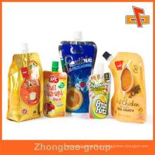 Guangzhou atacado lamimated material personalizado impresso plástico reutilizáveis alimento bico bolsa