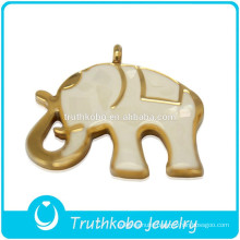 2014 High quality fashion shiny polishing cute animal stainless steel big elephant pendant with white enamel and Broken shells
