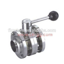 Excellent sanitary stainless steel 3PC butterfly valve
