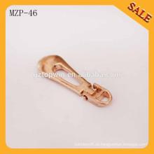MZP46 Angebot benutzerdefinierte Design glänzend gold Metall Reißverschluss Schieberegler Abzieher