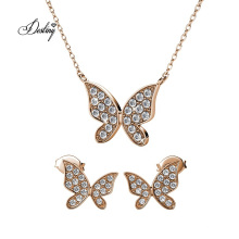 Fashion Custom Meadow Butterfly Set Jewelry with Premium Grade Crystal