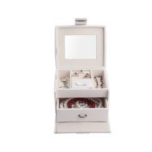 al por mayor pequeña caja de joyería de cuero blanco de lujo