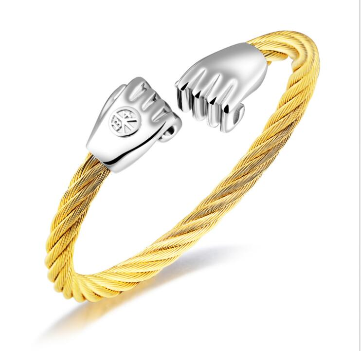 Stainless Steel Gold Cable Fist Charm Wire Bangle