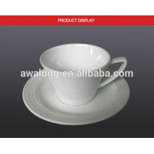 Glaze Bone China Eco-friendly Blanco Blanco taza de leche de cerámica fina y platillo