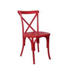 Cor vermelha Cruz de volta catering cadeira de jantar