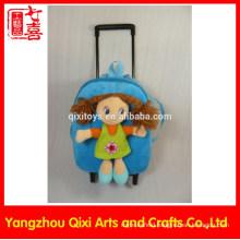 Kids school plush toy soft girl doll cute trolley bag for girls