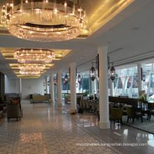 Modern luxury hotel villa meeting room large round ceiling mounted lighting pendant lights crystal chandelier