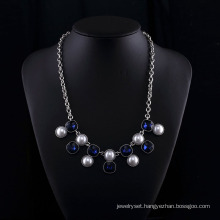 Sappire Crystal and Big Pearl Fashion Zinc Alloy Neckalce Set