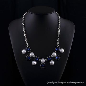Sappire Crystal and Big Pearl Fashion Zinc Alloy Neckalce Set