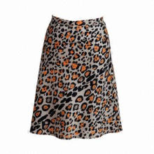 Women's Leopard Printed Fashion Knee Length Skirt, Made of 100% Cotton