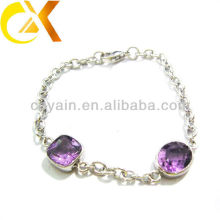 Purple stone charm bracelets purple crystal bracelet
