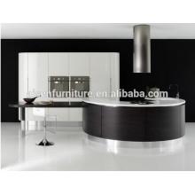 Revestimento de madeira de laca misturada design de forma redonda armário de cozinha de alta qualidade