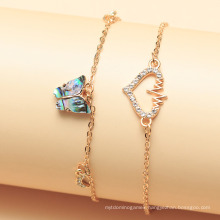 European and American Personality Diamond Love Anklets Foot Jewelry Peach Heart Acrylic Butterfly Anklet Women