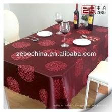 Оптовые красные ткани полиэстер жаккардовые скатерть