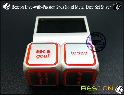 Bescon Live-with-Passion 2pcs Solid Metal Dice Set Silver-4