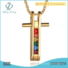 Pingente de cristal dos amantes do orgulho alegre do ouro, pendentes do ouro do aço inoxidável