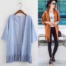 Lady Fashion Polyester Suede Nap Fringe Cardigan Shirt (YKY2229)