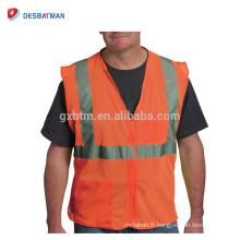 Gilet réfléchissant de haute visibilité orange de la classe 2 de sécurité haut Gilet réfléchissant de veste de maille de 360 degrés avec des poches et impression faite sur commande de logo