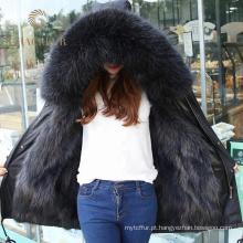 Variedade de estilos de pele forrado jaqueta parka com cinto para as mulheres por atacado