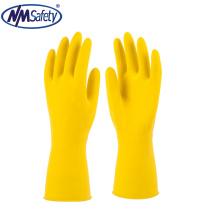 NMSAFETY Linho amarelo revestido de luvas de látex para limpeza