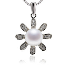 Snh 9mm White Button Real Pearl Pendant