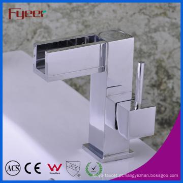 Fyeer Chrome Plated Spanner Syle Única Alça Latão Deck Montado Banheiro Bacia Torneira Misturador De Água Da Torneira Wasserhahn