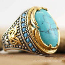 Bohemian Large Oval Natural Stone Rings for Women Men Vintage Dual Color Blue Beads Turquoises Finger Rings Party Jewelry