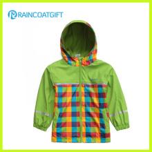 La alta calidad embroma el impermeable de la PU con la guarnición Rpu-006 del jersey