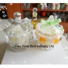 Coroa imperial da vela de vidro decorativa barata atrativa do frasco do projeto dada forma
