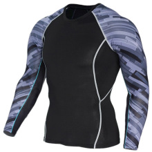 Mens compression shirt fitness training rounded hem tshirt