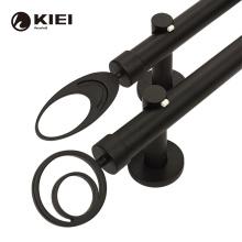 KYOK 2021 new design Circular pattern  brief style black Wrought iron curtain poles